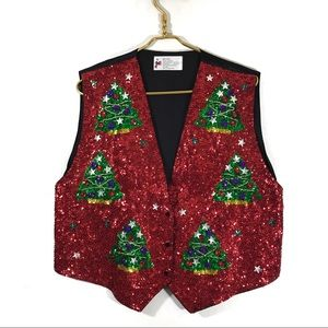 Christmas Red Sequin Vest